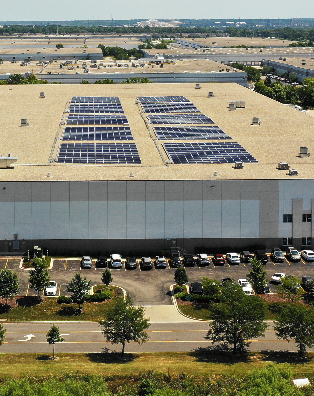 Rooftop solar installation at Ashley Furniture