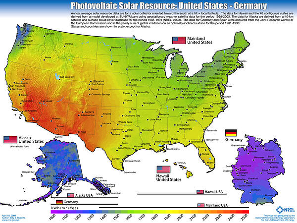 Solar Insolation in US vs Germany